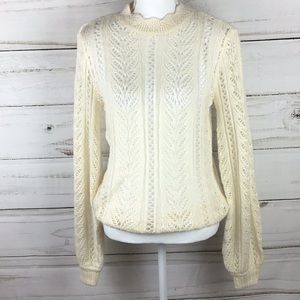 🆕LC Lauren Conrad Cream Crochet Sweater Sz small